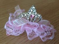 1PC Girls Kids Child Baby Pink Princess Party Crown Tiara lace Hair Head Clipper