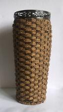 "Handmade Weaved Rattan & Filigree Metal Umbrella Stand/Vase 17.5"""