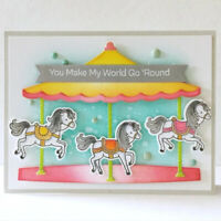 Carousel Merry-go-round Active Card Metal Cutting Die and Stamp Set Album Crafts