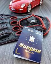Herren Autofahrer Handschuhe Hirschleder Lederhandschuhe Schwarz