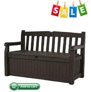 Solana 70 Gallon All Weather Outdoor Patio Storage Garden Bench Deck Box Brown