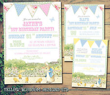 10 personalizzata festa di compleanno invito grazie VINTAGE Bunting Peter Rabbit