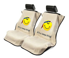 Seat Armour 2 Piece Front Car Seat Covers w/ Jeep Smiley Face - Tan Terry Cloth