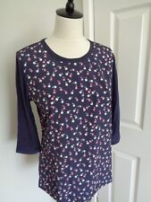 BNWT Tommy Hilfiger Navy Saffy 3/4 Sleeve Button Back Top  size M