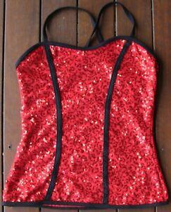 Balera Dancewear Red Sparkly Dance Top (Size: Child's Large)
