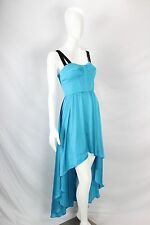 Guess NWT Blue Corset Black Strappy Lemons Backless High Low Maxi Dress sz 6