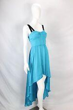Guess NWT Blue Corset Black Strappy Lemons Backless High Low Maxi Dress sz 6