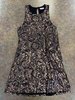 jella c. women's black bronze gold sequin sleeveless party dress size S