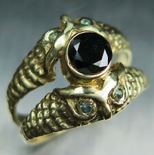 Certified Natural Black diamond & alexandrites 9ct 375 Gold owl engagement ring