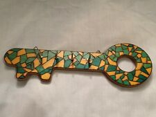 Green,Yellow Mosaic Key Holder- Pyrograved/Painted/Varnished (11 x 3.5 inches)