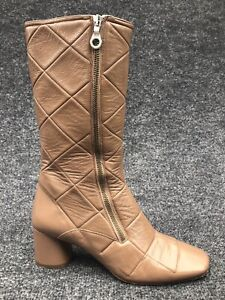 MARC JACOBS Quilted Patent Leather Boots 60's Mod Style Size IT 40 / US 10