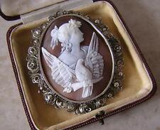AURORA - HUGE EARLY VICTORIAN CAMEO BROOCH PIN in FILIGREE MOUNT -  NIGHT & DAY