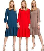 Damen Glockenkleid Kleid Elegant Langarm Mittellang Abendkleid Gr. S M L XL
