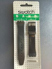 17mm Black Plain Replacement Band For Swatch Watch With Pins