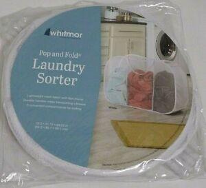 Whitmor Pop and Fold Laundry Sorter 13.5inx31.75inx23.25 White NEW