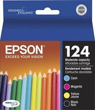 4-PACK Epson GENUINE 124 Black & Color Ink (NO RETAIL BOX) STYLUS NX330 NX430