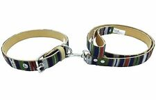 Guatemalan Leather Dog Collar and Leash set - Green Multi - Size Small