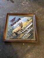 """Miller High Life """"Challenge"""" Beer Mirror Sign Elk Hunting Man Cave"""