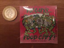 "1990 ""Teenage Mutant Hero Turtles"" RARE Double Sided Window Sticker ""Food City"""