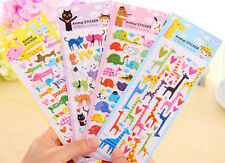 Lovely Cartoon 3D Bubble Sticker Cat Dog Giraffe Elephant for Kids Gift Toy LC