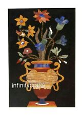 15 x 24 Black Marble Center Table Top Flower Pot Design Inlaid Coffee Table