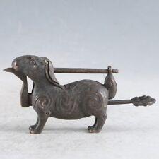 China Antiques bronze Handmade Chinese Zodiac rabbit Lock key statue