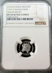 1997 PLATINUM CANADA $30 WOOD BISON NGC PROOF 70 ULTRA CAMEO 1,356 MINTED