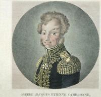 CAMBRONNE Général Premier Empire Gravure Original début XIXe Pointillé Aquarelle