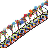 1 Yard Ethnic Boho Beaded Fringe Trim Ribbon Fabric Patch Appliques 60mm