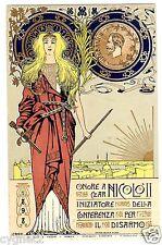 POSTCARD ITALIAN 1898 CZAR NICHOLAS II DISARMAMENT ART NOUVEAU SIGNED ROSSI