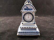 Antique Blue and White Delft Pottery Miniature Grandfather Clock Music Box