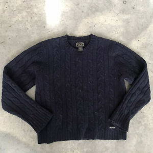 Abercrombie & Fitch Boys Kids 100% Wool Navy Blue Cableknit Sweater Size Large