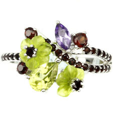 MOZAMBIQUE GARNET, CARVED GREEN QUARTZ, AMETHYST .925 STERLING SILVER RING SZ 9
