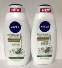 (2) NIVEA Basil & White Tea Refreshing Body Wash W/ Nourishing Serum-20oz. Each