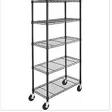 Amazon Basics 5-Shelf Shelving Unit on 4'' Casters, Black