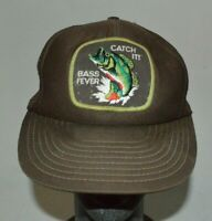 Vintage Ironic Bass Fever Catch It! Trucker Baseball Hat Cap Snap Back One Size