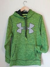 Men's UNDER ARMOUR Loose Pull-Over Hoodie Size SM/P GREEN AND SILVER