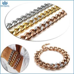 Bracciale da donna a catena maglia in acciaio inox braccialetto con zirconi per