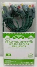 Holiday Time 20 Battery Operated LED Mini Lights Multi Color 7.5 Ft Green Wire
