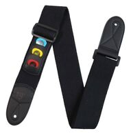 Black Adjustable Shoulder GUITAR STRAP with Pick Holder 3 Free Picks Plectrums