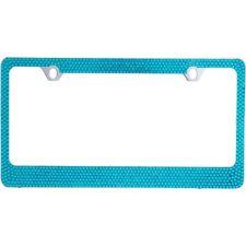 7 Rows Bling Blue Crystal Rhinestone METAL License Plate Frame/Caps