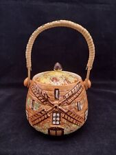 More details for price brothers cottage ware round biscuit barrel wicker handle 'ye old mill'