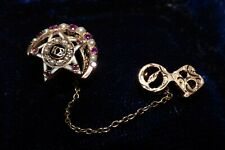 ANTIQUE 10K GOLD KAPPA SIGMA FRATERNITY DOUBLE BROOCH PIN RUBIES DIAMOND PEARL