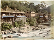 c1880s, KIMBEI, Sanmai Bashi TEA HOUSE, japan, nice original albumen photograph