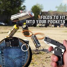 Rubber Band Gun Mini Metal Folding 6-Shot with Keychain  7 Colors