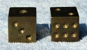 Vintage Solid Brass 1 Inch Squared Casino Dice Pair *EX*