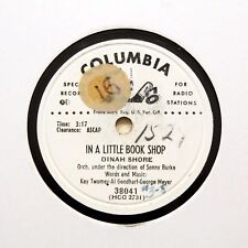"DINAH SHORE ""In A Little Book Shop"" COLUMBIA PROMO RECORD [78 RPM]"