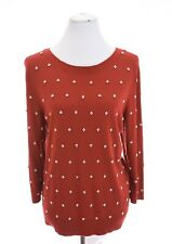 Talbots Soft Pearl Embellished Red Sweater Christmas Womens Sz XL