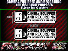 TELECAMERA Equipaggiata & registrazione Adesivi Decalcomania x2 DVR Auto Furgone Camion Autobus Moto B & W