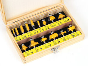 "15 Bit Carbide Tipped Router Bit Starter Set - 1/4"" Shank - Yonico 17150q"